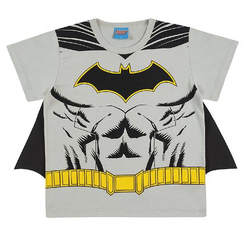 Camiseta de Manga Curta com Capa do Batman