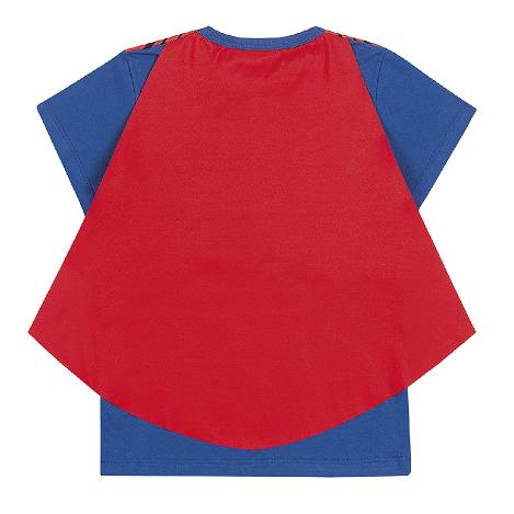 Camiseta de Manga Curta com Capa do Superman
