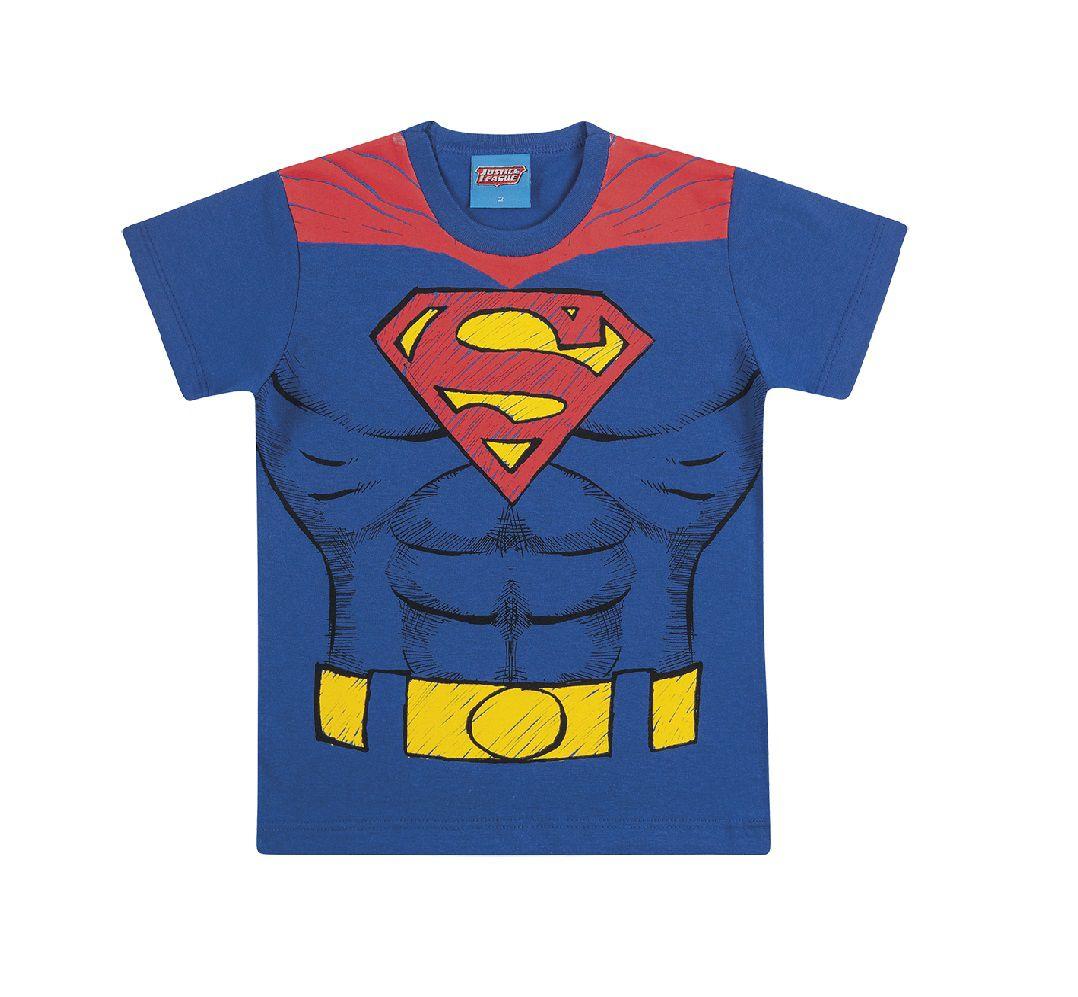 Camiseta de Manga Curta Superman Liga da Justiça