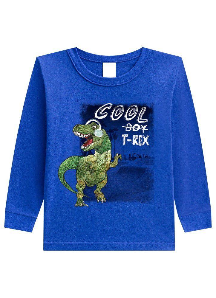 Camiseta de Manga Longa Infantil Menino Dinossauro