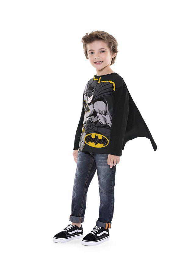 Camiseta Infantil Menino Manga Longa com Capa Batman