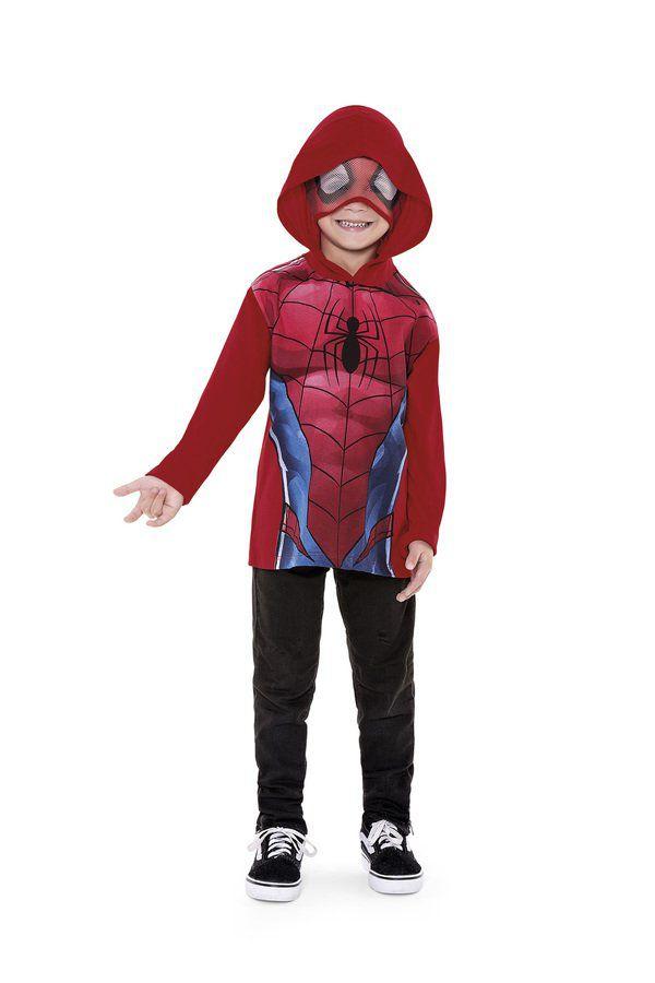 Camiseta Infantil Menino Manga Longa com Capuz e Viseira Homem-Aranha Spider-Man