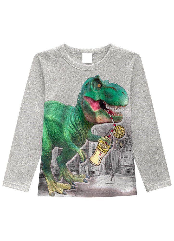 Camiseta Infantil Menino Manga Longa de Dinossauro