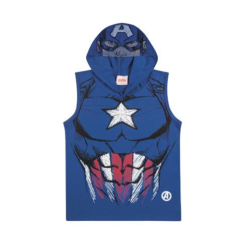 Camiseta Regata com Capuz e Viseira do Capitão América