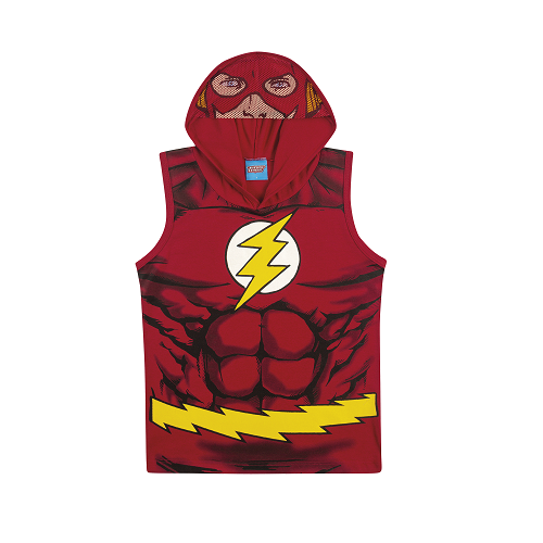 Camiseta Regata com Capuz e Viseira The Flash Liga da Justiça