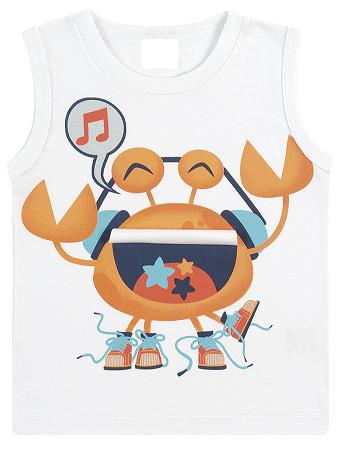 Camiseta Regata Infantil Menino Estampa Divertida Caranguejo