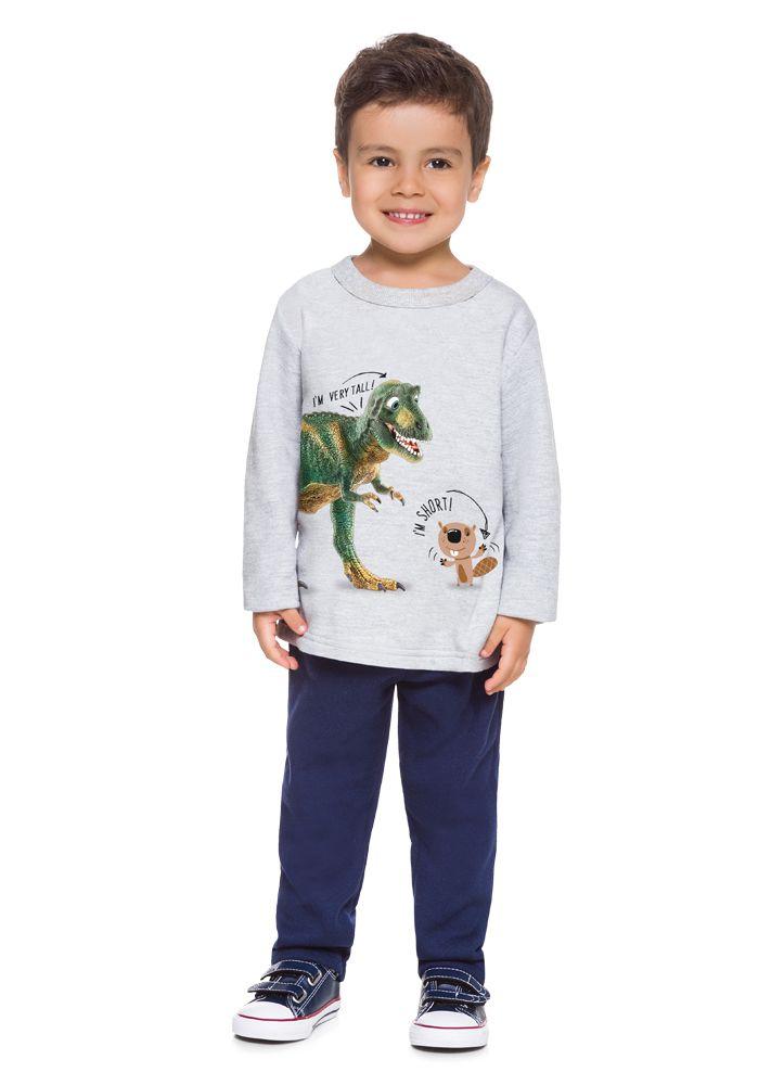 Conjunto de Moletom Infantil Menino de Dinossauro