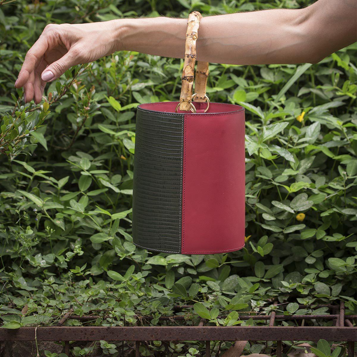 Bolsa Bucket Duo Bambu Verde Militar e Vinho