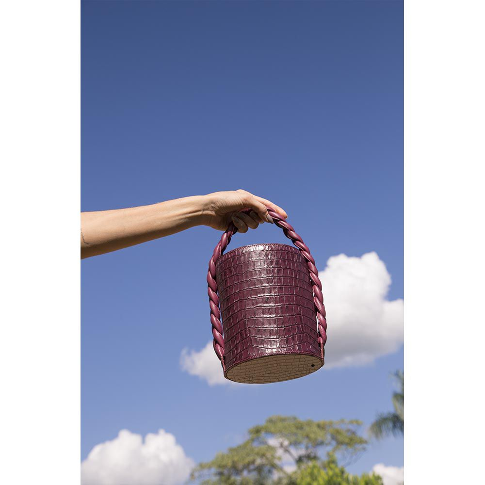 Bolsa Oxalá Bucket Croco Grape