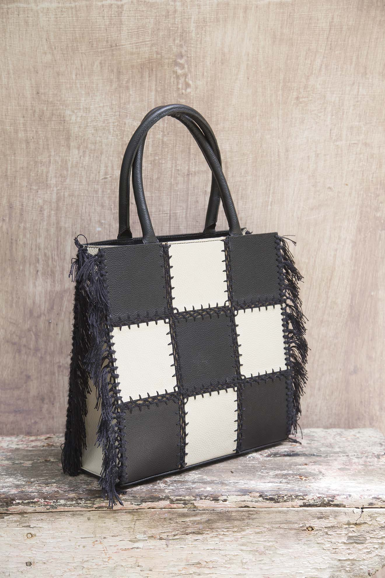 Bolsa Shopping Bag Caruaru Mix Preto e Branco