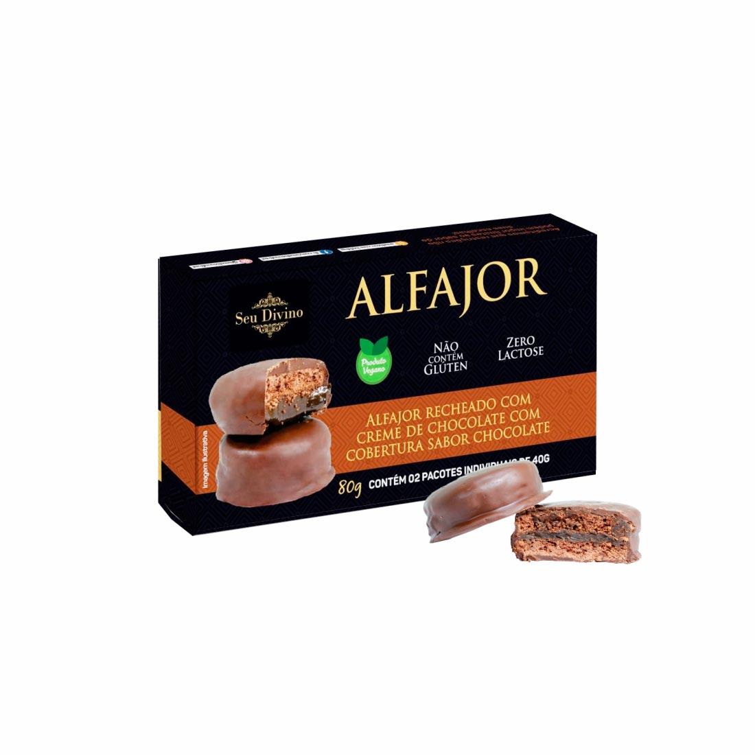 ALFAJOR NEGRO CHOCOLATE SEU DIVINO S/GLÚTEN 0%LACTOSE VEGANO 80G