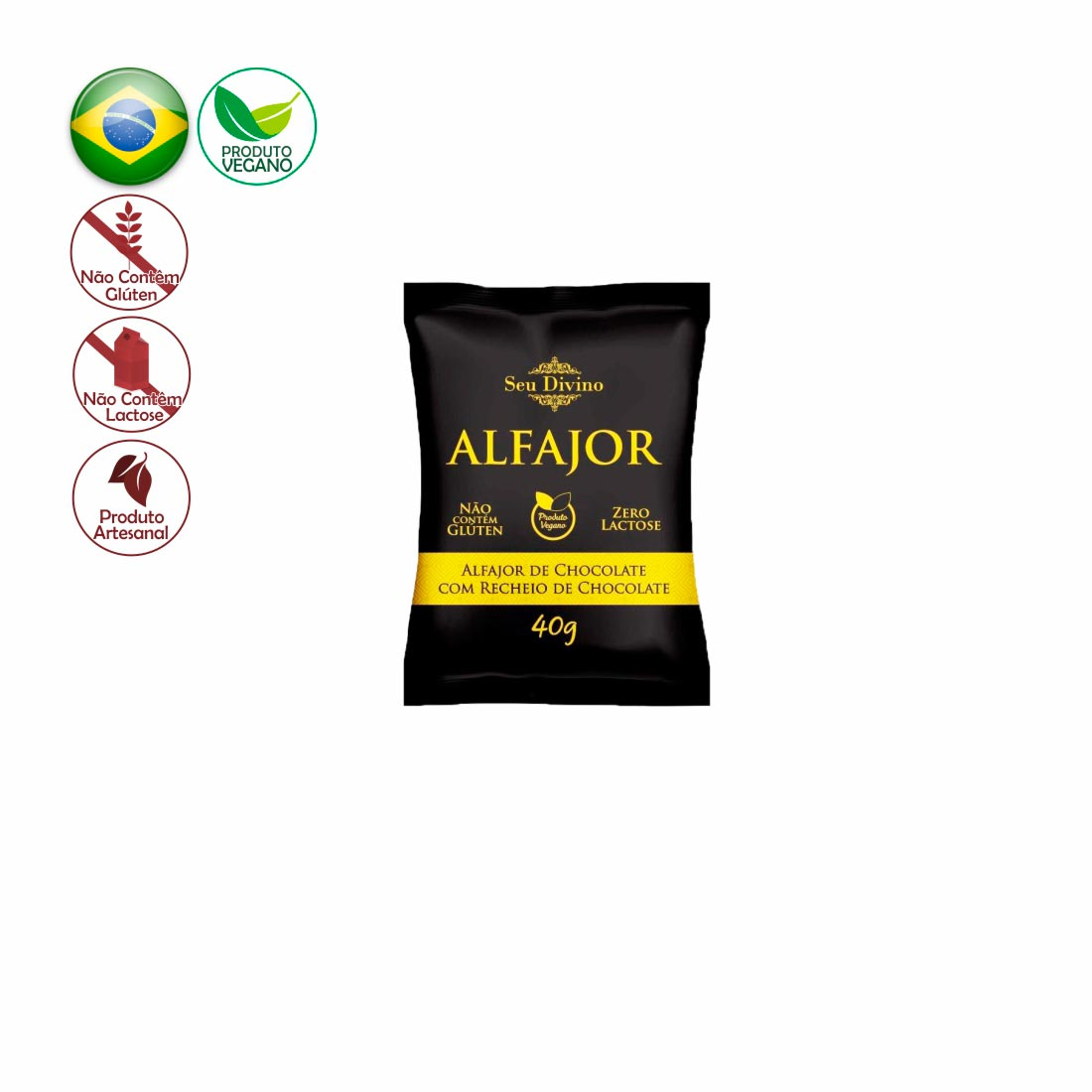ALFAJOR NEGRO SEU DIVINO CHOCOLATE C/ CHOCOLATE S/ GLÚTEN, ZERO LACTOSE E VEGANO 40G