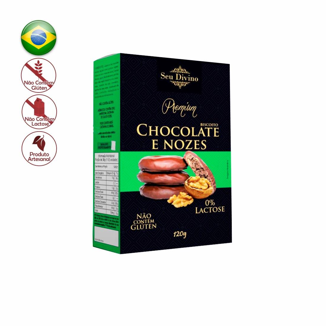 BISCOITO CHOCOLATE C/ NOZES PREMIUM SEU DIVINO SEM GLÚTEN E ZERO LACTOSE 120G