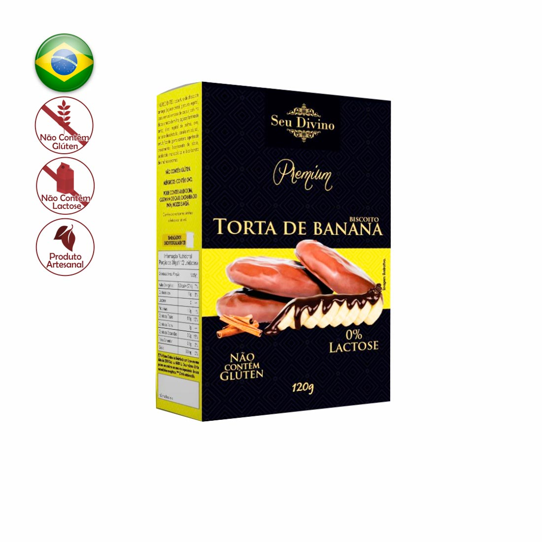 BISCOITO TORTA DE BANANA PREMIUM SEU DIVINO SEM GLÚTEN E ZERO LACTOSE 120G