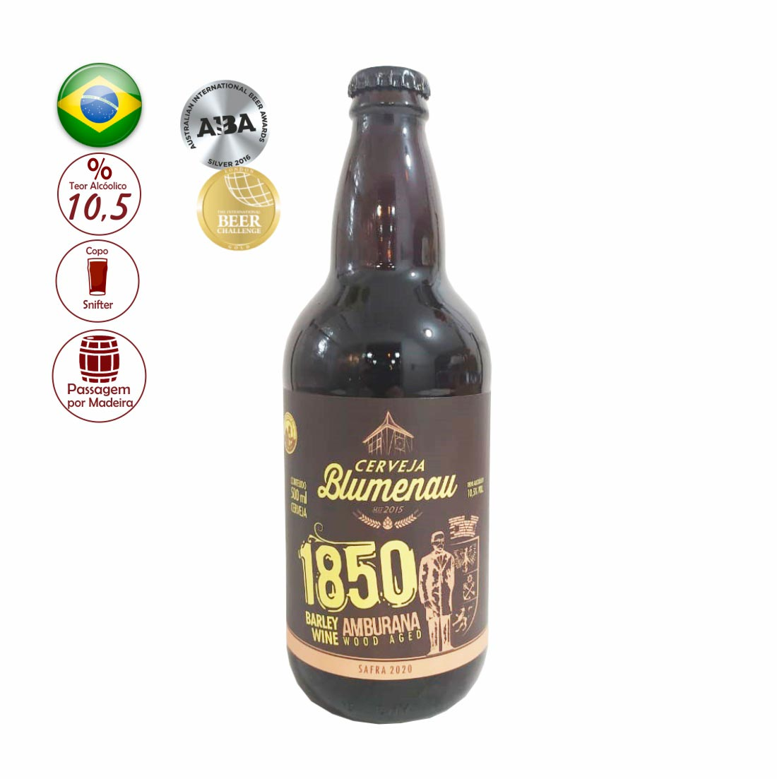 CERVEJA BLUMENAU 500ML 1850 BARLEY WINE AMBURANA WOOD AGED