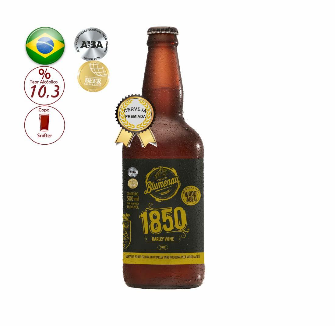 CERVEJA  BLUMENAU 500ML 1850 BARLEY WINE NOGUEIRA PECA WOOD AGED