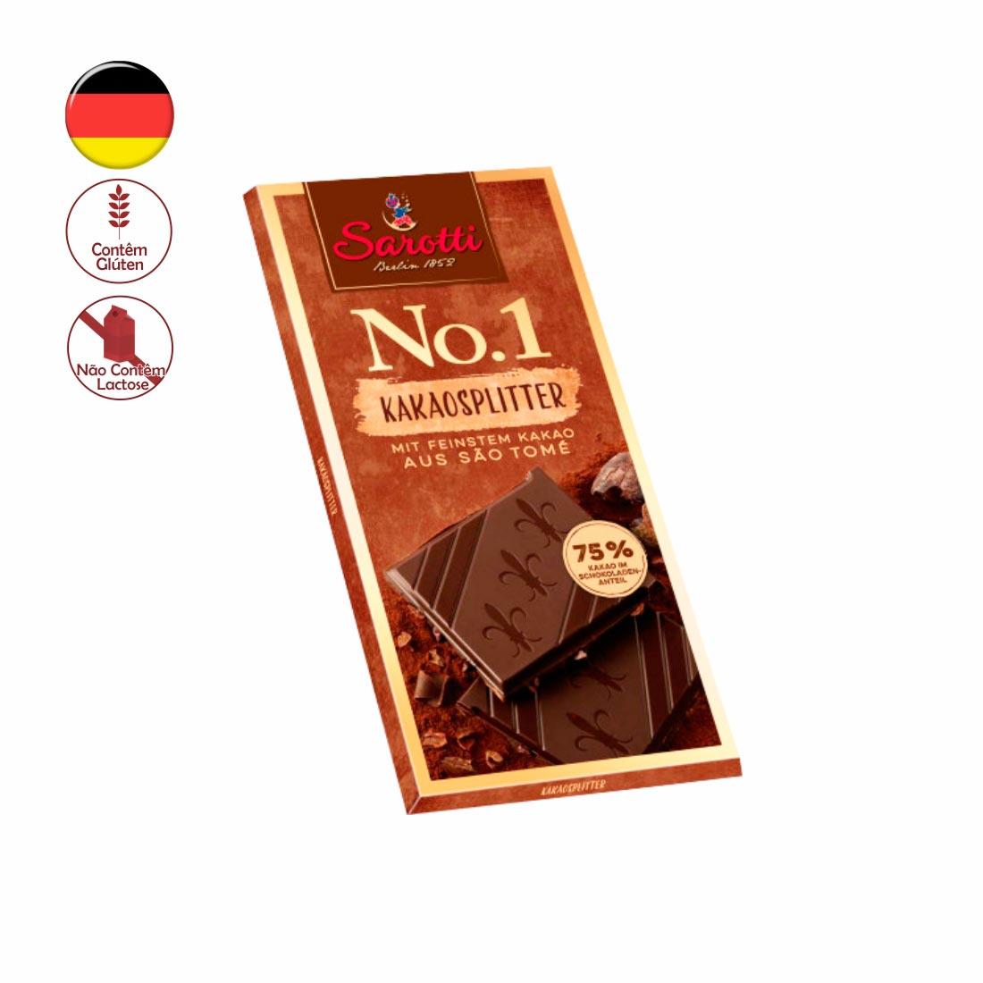 CHOCOLATE PURO 75% PEDAÇOS DE CACAU SÃO TOMÉ SAROTTI 100G KAKAOSPLITTER