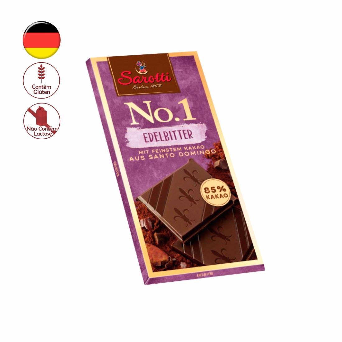 CHOCOLATE PURO 85% CACAU SANTO DOMINGO SAROTTI 100G EDELBITTER