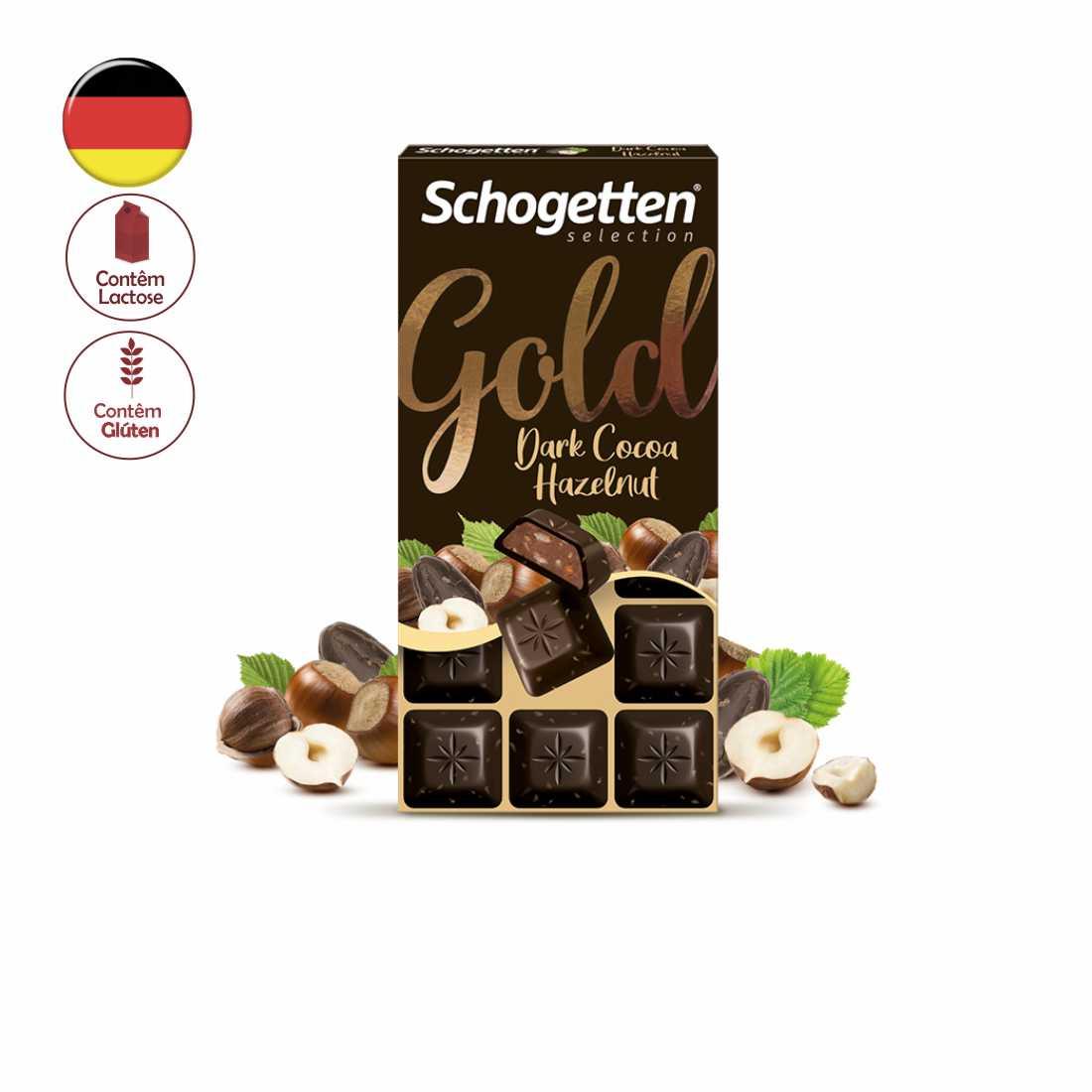 CHOCOLATE SCHOGETTEN GOLD DARK COCOA HAZELNUT 100G