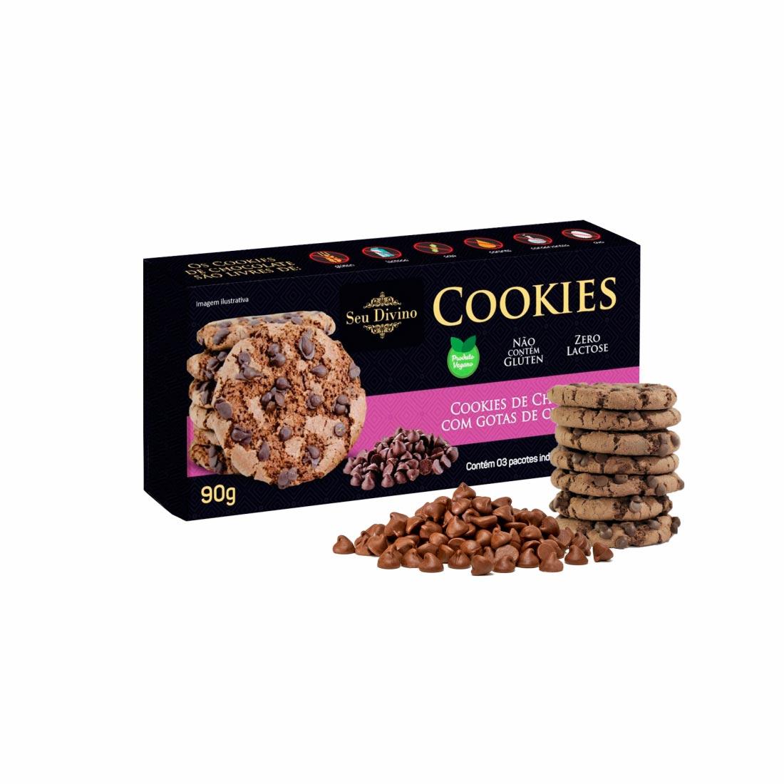 COOKIES CHOCOLATE C/ CHOCOLATE SEU DIVINO S/GLÚTEN 0%LACTOSE VEGANO 90G