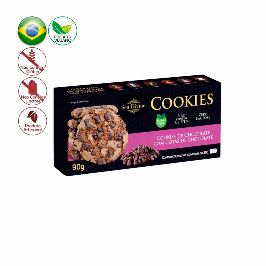 COOKIES CHOCOLATE C/ GOTAS DE CHOCOLATE SEU DIVINO SEM GLÚTEN, SEM LACTOSE E VEGANO 90G