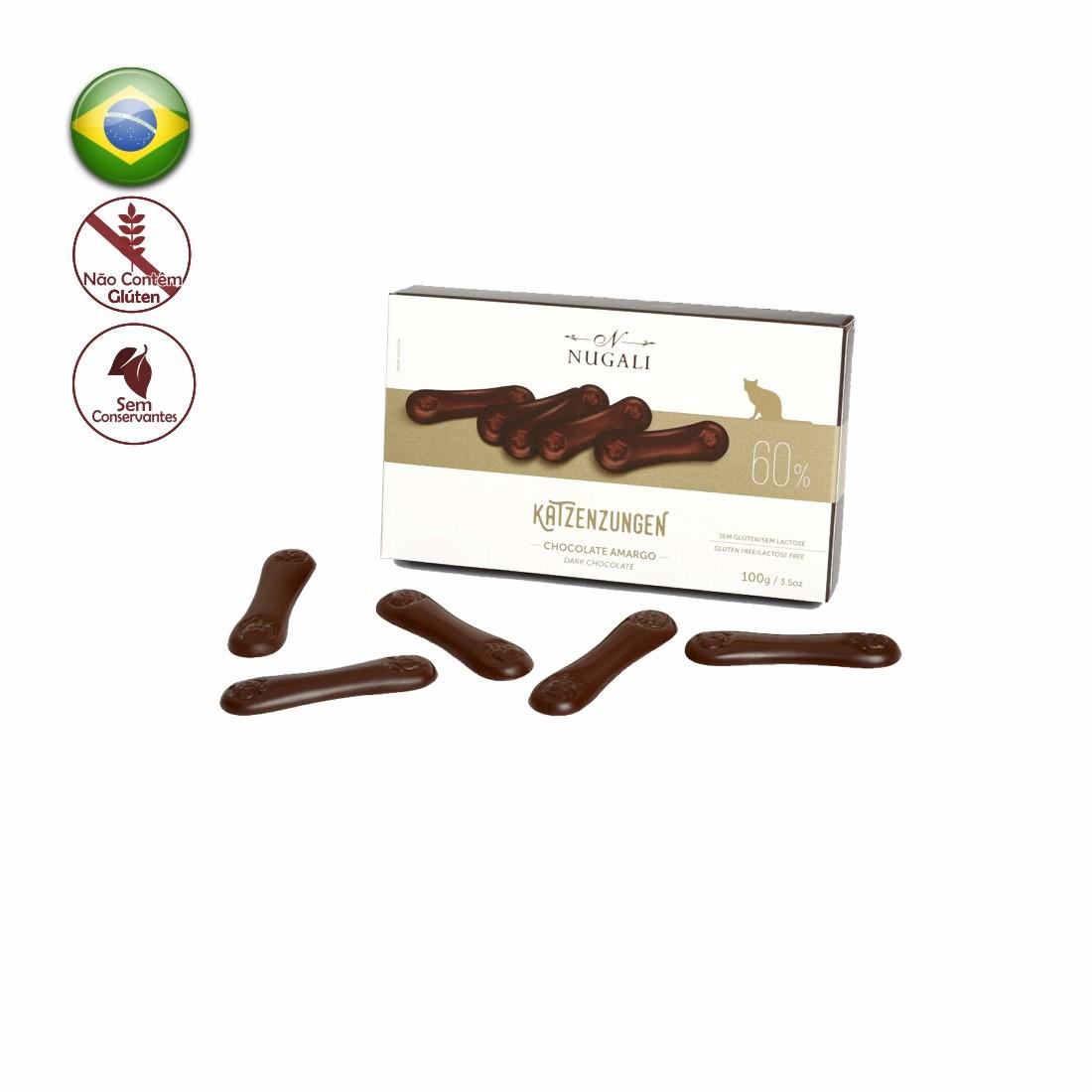 KATZENZUNGEN NUGALI CHOCOLATE AMARGO 60% 100G