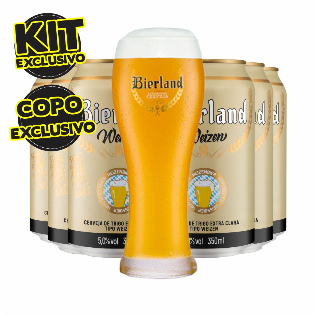 KIT CERVEJA  BIERLAND WEIZEN 350ML COM COPO EXCLUSIVO