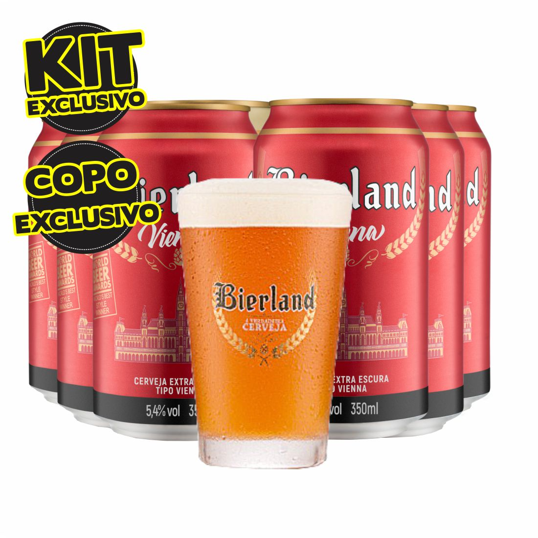 KIT CERVEJAS BIERLAND VIENNA 350ML COM COPO EXCLUSIVO