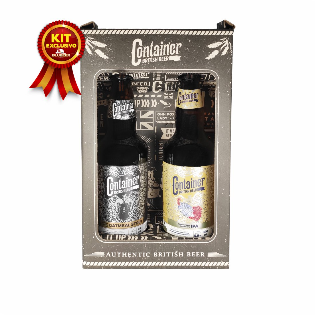 KIT CERVEJAS CONTAINER STOUT + IPA 500ML