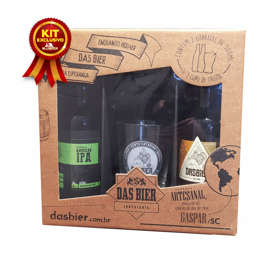KIT CERVEJAS DAS BIER IPA + STOUT + COPO 300ML