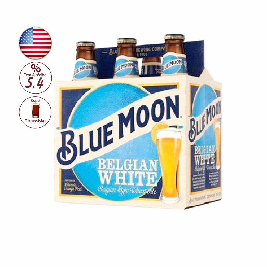 PACK CERVEJA BLUE MOON BELGIAN WHITE 355ML C/ 6 UNIDADES
