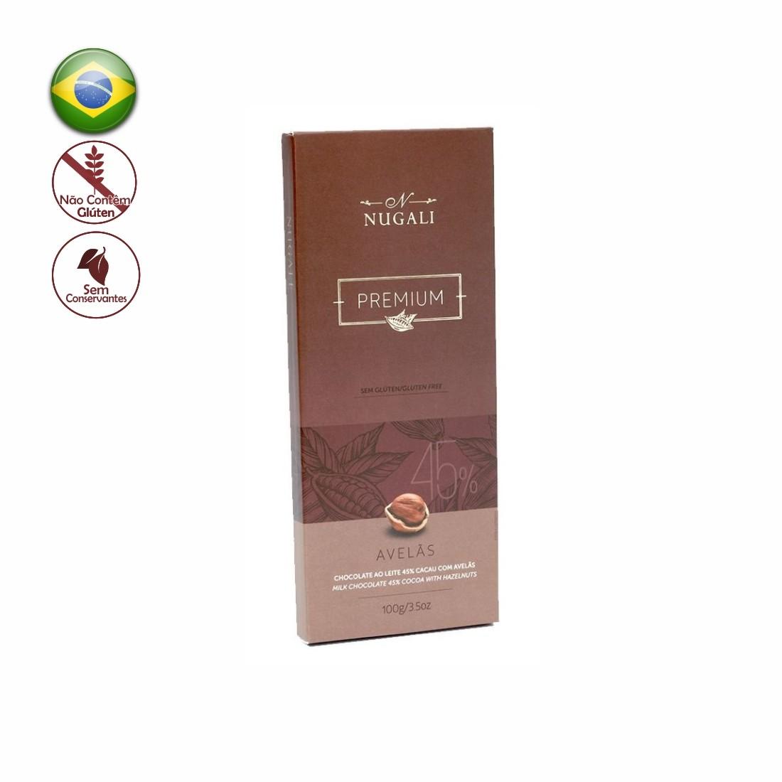 TABLETE NUGALI CHOCOLATE AO LEITE C/ AVELAS 100G
