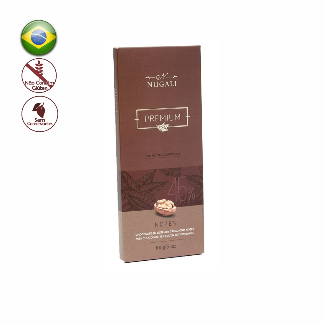 TABLETE NUGALI CHOCOLATE AO LEITE C/ NOZES 100G