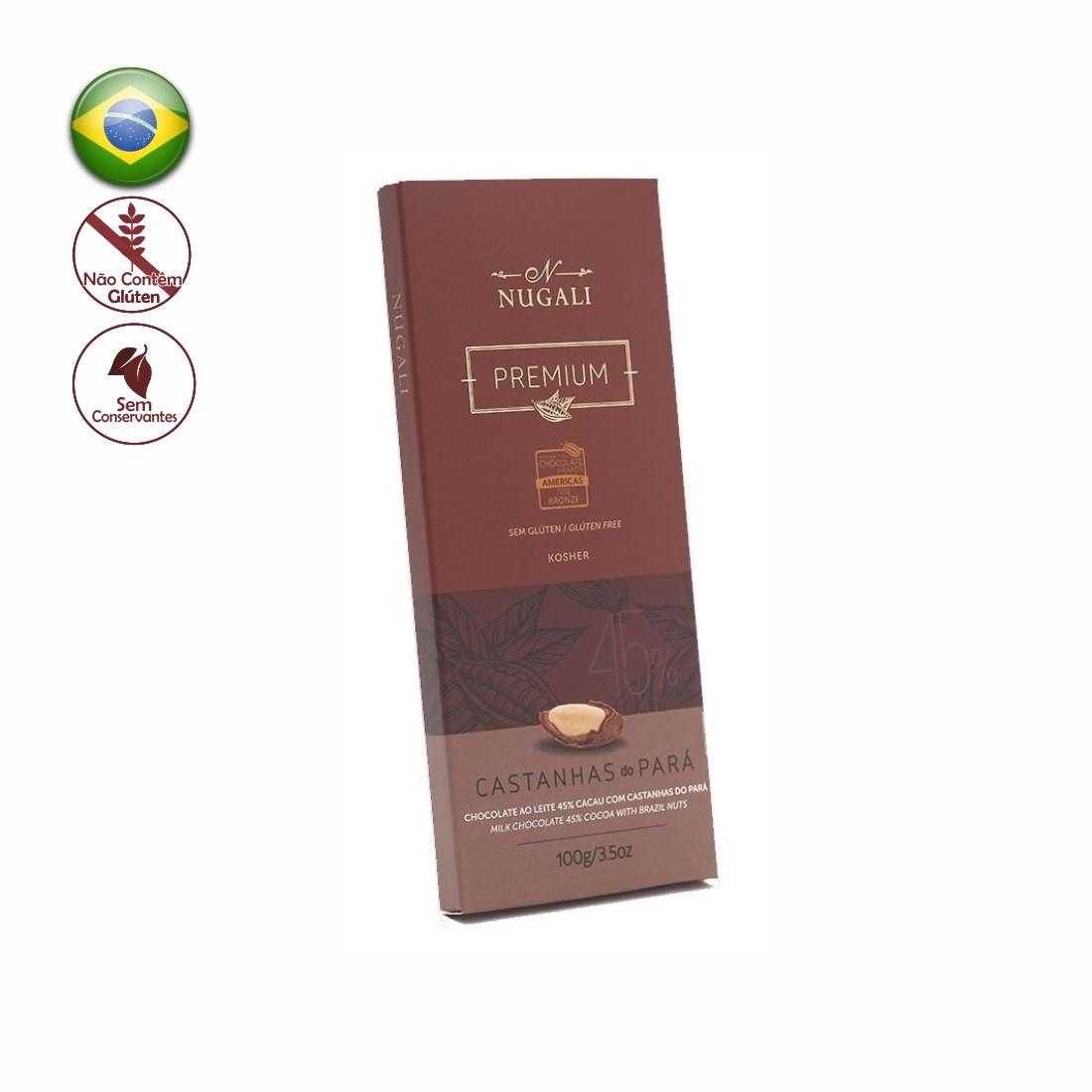 TABLETE NUGALI CHOCOLATE C/ CASTANHAS DO PARA 100G