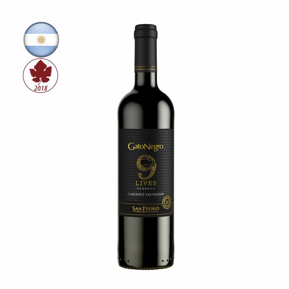 VINHO GATO NEGRO 9 LIVES RESERVA CHILENO 750ML CABERNET SAUVIGNON