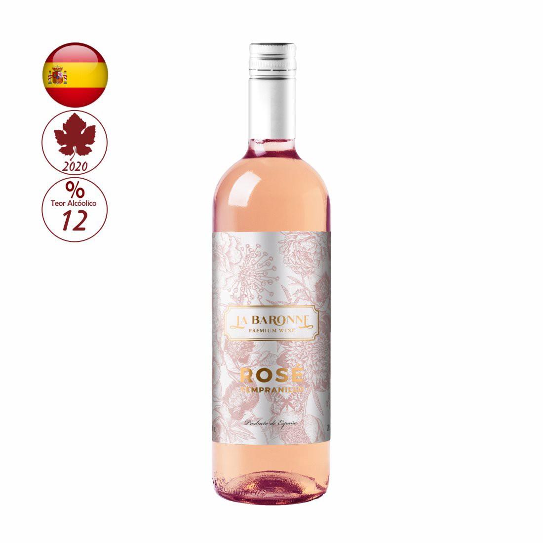 VINHO LA BARONNE ESPANHOL 750ML TEMPRANILLO ROSE
