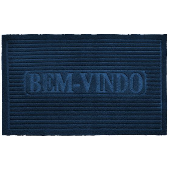 Capacho para Entrada Bem Vindo Azul  38x58cm Antiderrapante Camesa