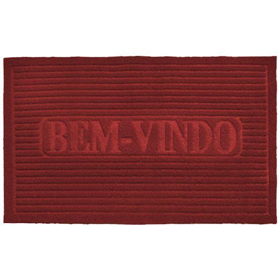 Capacho para Entrada Bem Vindo Vermelho  38x58cm Antiderrapante Camesa