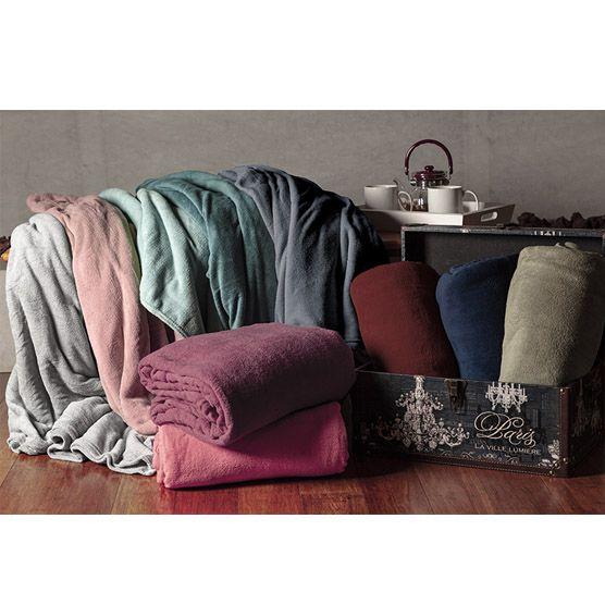 Cobertor Casal Microfibra Liso Azul Marinho 1,80x2,20m Camesa