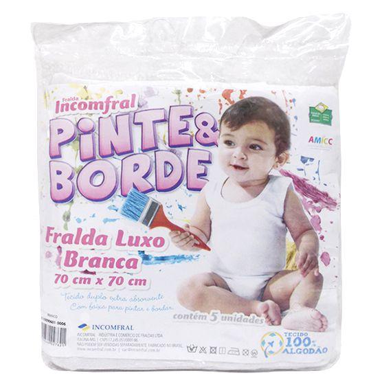 Pacote Fralda 70x70cm Pinte e Borde Luxo Branca Tecido Duplo Extra Absorvente 5 peças