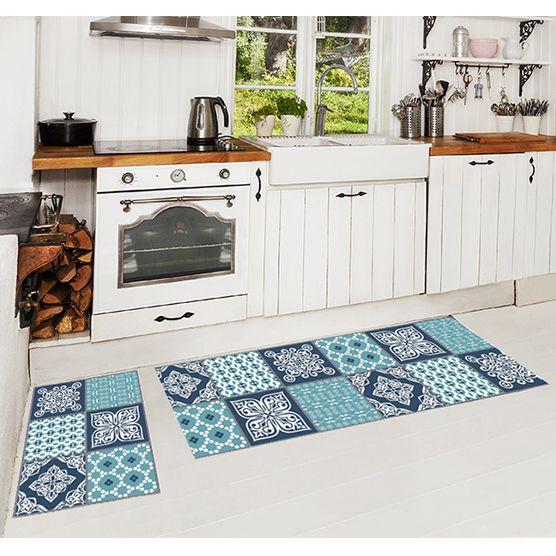 Jogo de Tapetes 3 pçs para Cozinha Azulejo Camesa Antiderrapante