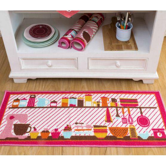 Jogo de Tapetes 3 pçs para Cozinha Rosa Camesa Antiderrapante