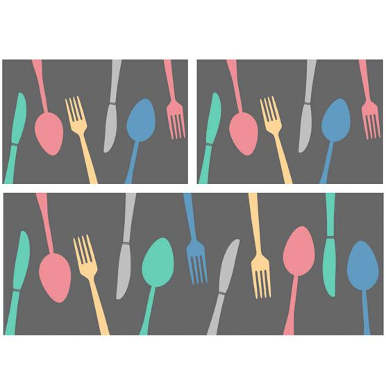 Jogo de Tapetes 3 pçs para Cozinha Talheres Camesa Antiderrapante