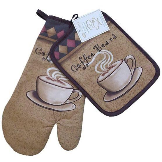 Jogo de Cozinha Luva de Forno e Descanso de Panelas Niazitex Coffee 2 peças