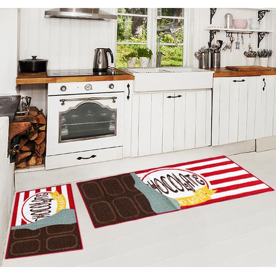 Jogo de Tapetes 3 pçs para Cozinha Chocolate Camesa Antiderrapante