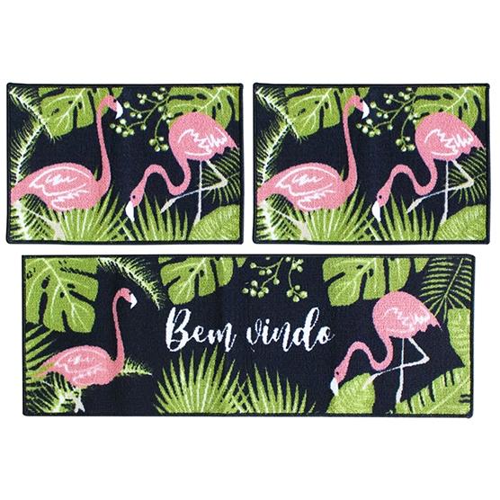 Jogo de Tapetes 3 pçs para Cozinha Flamingos Camesa Antiderrapante