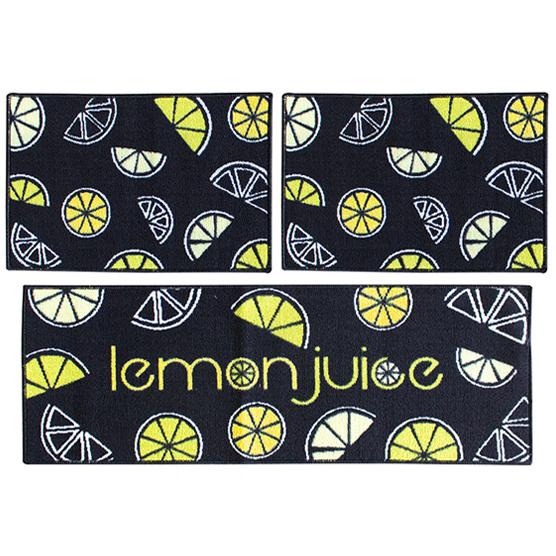 Jogo de Tapetes 3 pçs para Cozinha Lemon Camesa Antiderrapante