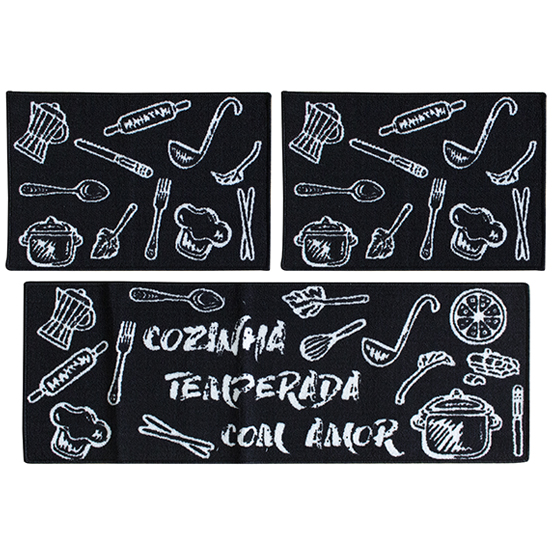 Jogo de Tapetes 3 pçs para Cozinha Temperada Camesa Antiderrapante