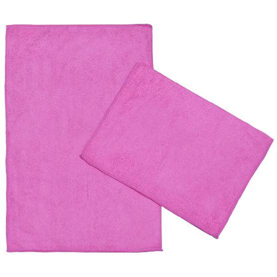 Kit c/ 2 Panos de Microfibra para Limpeza Ultra Absorvente Rosa 35x55cm Camesa