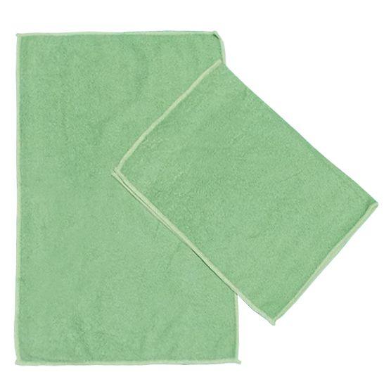 Kit c/ 2 Panos de Microfibra para Limpeza Ultra Absorvente Verde 35x55cm Camesa